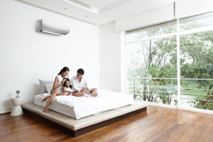 Family at home with air conditioner